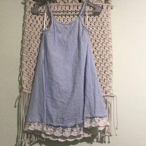 Flowy white and blue stripe dress